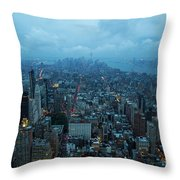 Blue Hour In New York Throw Pillow