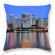Blue Hour In The Steel City Throw Pillow
