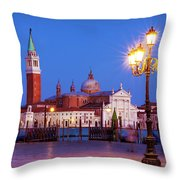 Blue Hour In Venice Throw Pillow by Barry O Carroll