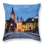 Blue Hour In Wuerzburg Throw Pillow