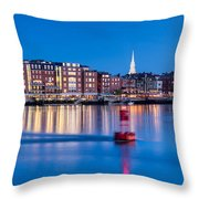 Blue Hour Over Portsmouth New Hampshire Throw Pillow