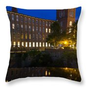 Blue Hour Over The Cocheco Mills Dover New Hampshire Throw Pillow