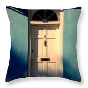 Blue House Door Throw Pillow