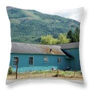 Blue House In Hamilton Throw Pillow