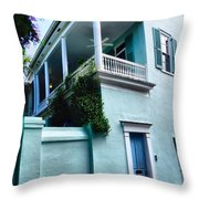 Blue House With A Blue Door Throw Pillow