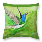 Blue Humming Bird Throw Pillow