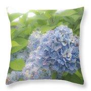 Blue Hydrangea At Rainy Garden In June, Japan Throw Pillow