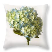 Blue Hydrangea Spray Throw Pillow