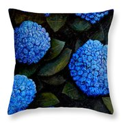 Blue Hydrangeas Throw Pillow