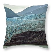 Blue Ice In Fog Throw Pillow