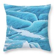 Blue Ice Svinafellsjokull Glacier Iceland Throw Pillow