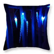 Blue Icicles Throw Pillow