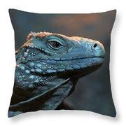 Blue Iguana Throw Pillow