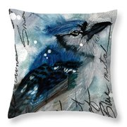 Blue In Snow Throw Pillow