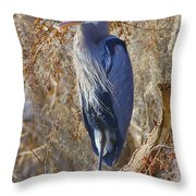 Blue In The Moss Throw Pillow