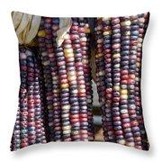 Blue Indian Corn Throw Pillow