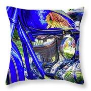 Blue Indian Throw Pillow