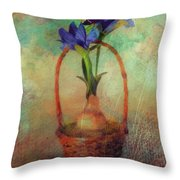 Blue Iris In A Basket Throw Pillow