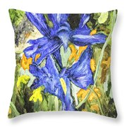 Blue Iris Painting Throw Pillow