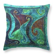 Blue Island Curves Throw Pillow