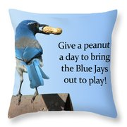 Blue Jay And A Peanut Throw Pillow