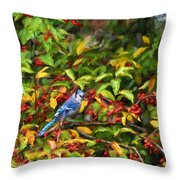 Blue Jay And Berries Throw Pillow