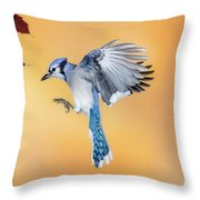 Blue Jay Beauty Throw Pillow
