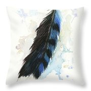 Blue Jay Feather Splash Throw Pillow by Brandy Woods