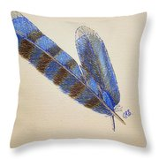 Blue Jay Feathers Throw Pillow