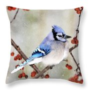 Blue Jay In Snowfall 3 Throw Pillow