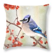 Blue Jay In Snowfall Throw Pillow