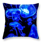 Blue Jellies Throw Pillow