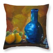 Blue Jug On The Shelf Throw Pillow