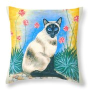 Blue Kitty Throw Pillow
