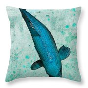 Blue Koi Throw Pillow