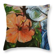 Blue Lady Collage Throw Pillow