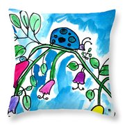 Blue Ladybug Throw Pillow