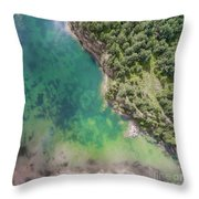 Blue Laggon See From Above In Old Sand Mine In Poland. Throw Pillow