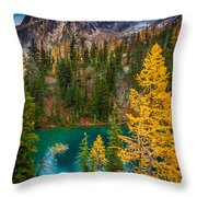 Blue Lake And Early Winter Spires Throw Pillow