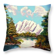 Blue Lake Mirror Reflection - Elegance With Oil Throw Pillow