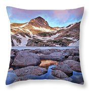 Blue Lake Sunrise Throw Pillow