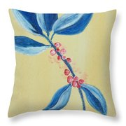 Blue Leaves And Berries Throw Pillow