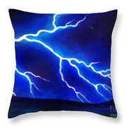 Blue Lightning Above The Ocean Throw Pillow