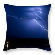 Blue Lightning Sky Over Water Throw Pillow