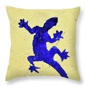 Blue Lizard Throw Pillow