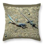 Blue Lizards Throw Pillow