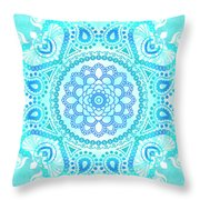 Blue Lotus Mandala Throw Pillow
