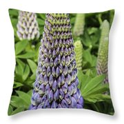 Blue Lupin Throw Pillow