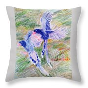 Blue Magpies Throw Pillow