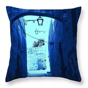 Blue Maltese Arch Throw Pillow